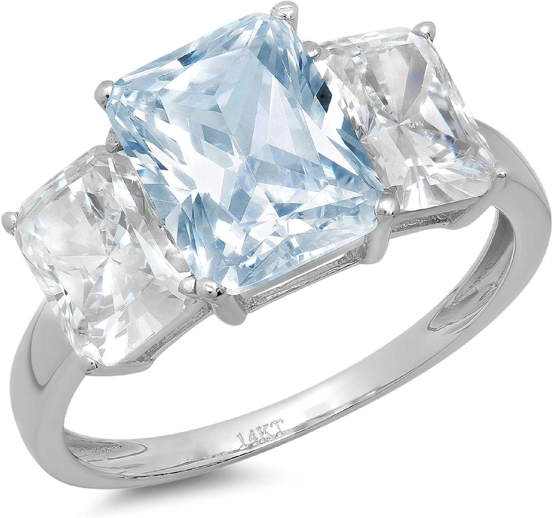 3.97ct Brilliant Emerald Cut 3 Stone Solitaire with Accent Aquamarine Blue Simulated Diamond CZ VVS1 Designer Modern Statement Ring Solid 14k White Gold Clara Pucci