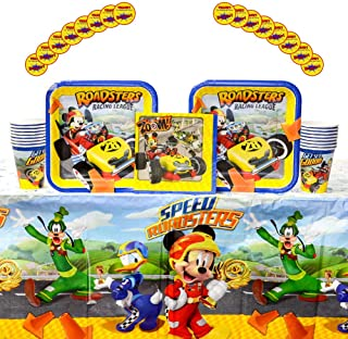 Mickey Roadster Party Supplies Pack for 16 Guests: Stickers, Dinner Plates, Luncheon Napkins, Table Cover, and Cups