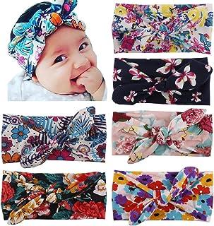 Toptim Baby Girl's Turban Headband Head Wrap Knotted Hair Band(6 Pack)Bohemian Rabbit Ear, One Size