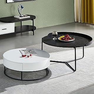 CJDM Table Basse de Salon Ronde Nordique, Maison multifonctionnelle Petit Appartement Table d'appoint Minimaliste Moderne ...