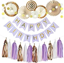 Monkey Home 20pcs of Tissue Paper Fans,Happy Birthday Banner Party Decorations Circle Dots,Paper Garland Tissue Paper Tassel for First Birthday Baby Shower Supplies (Rose Gold,Light Purple Theme)