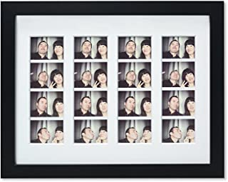 Golden State Art, 8.5x11 Photo Frame with mat for 4 2x6 Photo Booth Pictures with, Black. Includes Real Glass & Easel Back...
