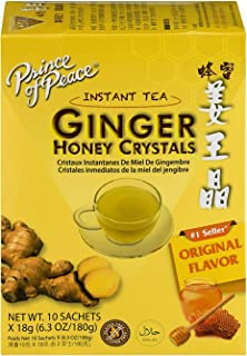 Prince of Peace Instant Ginger Honey Crystals, 10 Sachets – Instant Hot or Cold Beverage for Nausea Relief and Soothes Thr...