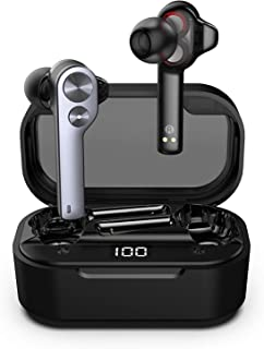 Ture Wireless Earbuds,Tws Bluetooth Earphone Dual Dynamic Drives TWS808 AirPods Touch Control Waterproof Headphone Noise Cancelling Headset with LED Display Charging Case (Grey)