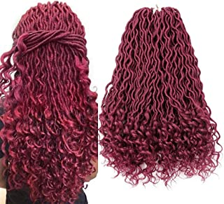 Colorful Bird Wavy Faux Locs Crochet Hair with Curly End Goddess Locs Crochet Hair Burgundy Synthetic Braiding Hair Extension 6Pcs/Lot 22 inches Red