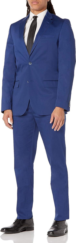 Ben Sherman Men's Solid Blue Stretch Cotton Suit