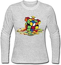 DASY Women's O-neck Big Bang Theory Rubik Cube Melting Long Sleeve Gray X-Large
