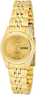 Seiko 5 Automatic Women's Gold Dial Stainless Steel Band Watch - SYMA38J1
