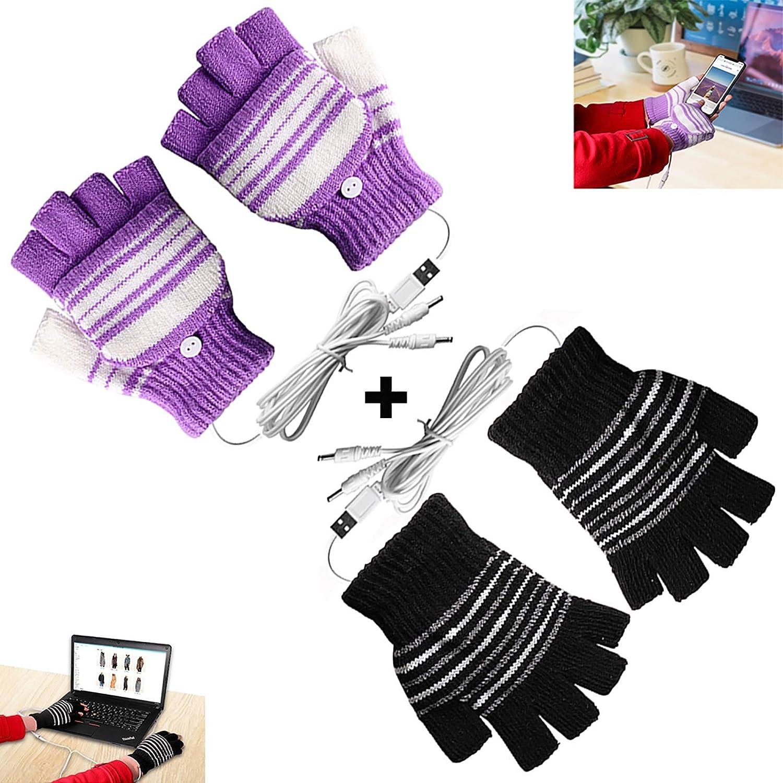 [2 Pack] USB Heated Gloves for Men and Women Mitten, USB 2.0 Powered Stripes Heating Pattern Knitting Wool Heated Gloves Hands Warmer Laptop Gloves Fingerless Washable Design Gift (Black + Purple)