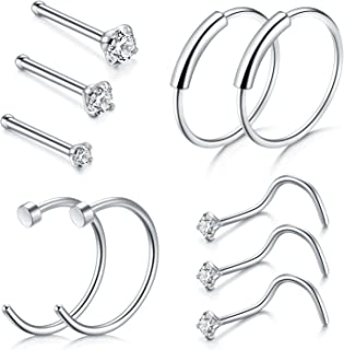 D.Bella Nose Ring Hoop, 22G 8mm Nose Rings Studs Piercings Hoop Jewelry Stainless Steel 1.5mm 2mm 2.5mm