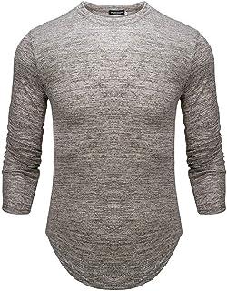 VANVENE Mens Pullover Long Sleeve Sweatshirts Cotton Curve Hem Slim-fit Casual Sports Shirts M-2XL
