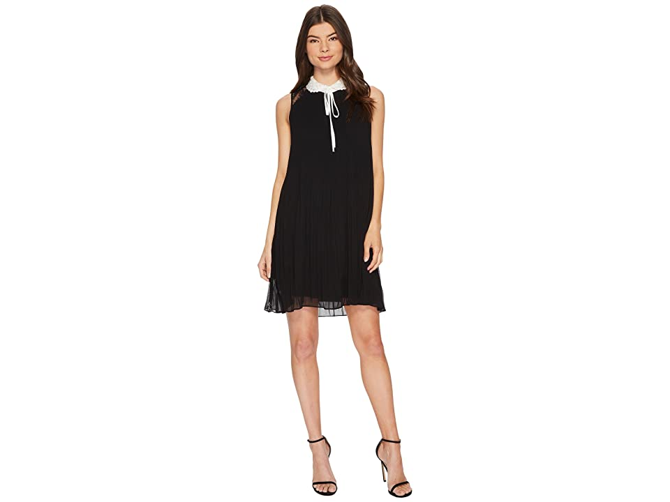 CeCe Scarlett Sleeveless Collared Pleated Dress (Rich Black) Women