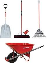 CRAFTSMAN CMXMKIT0130 4-Piece Outdoor Tool Set with D-Grip Poly Scoop Shovel, Rake, Squeegee Push Broom & 6 Cubic Ft. Wheelbarrow