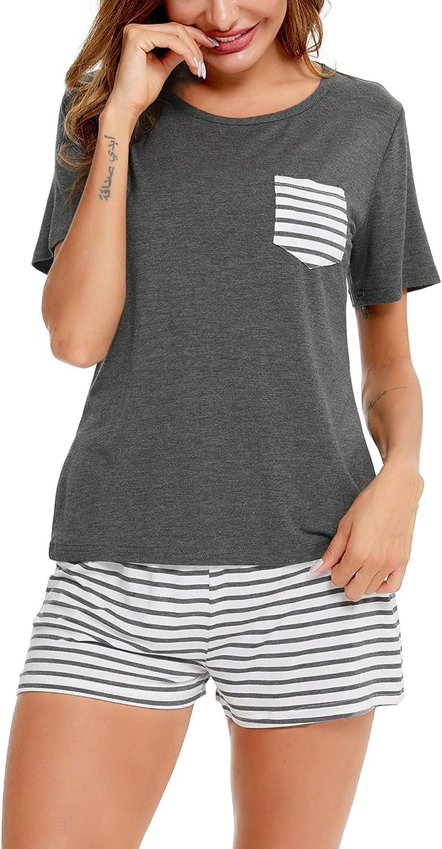SWOMOG Women's Pajamas Set Short/Long Sleeve Top with Pants 2 Pieces Sleepwear Soft Modal Pj Set