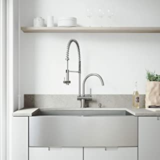 VIGO 36 inch Farmhouse Apron Single Bowl 16 Gauge Stainless Steel Kitchen Sink with Dresden Stainless Steel Faucet, Grid, Strainer and Soap Dispenser