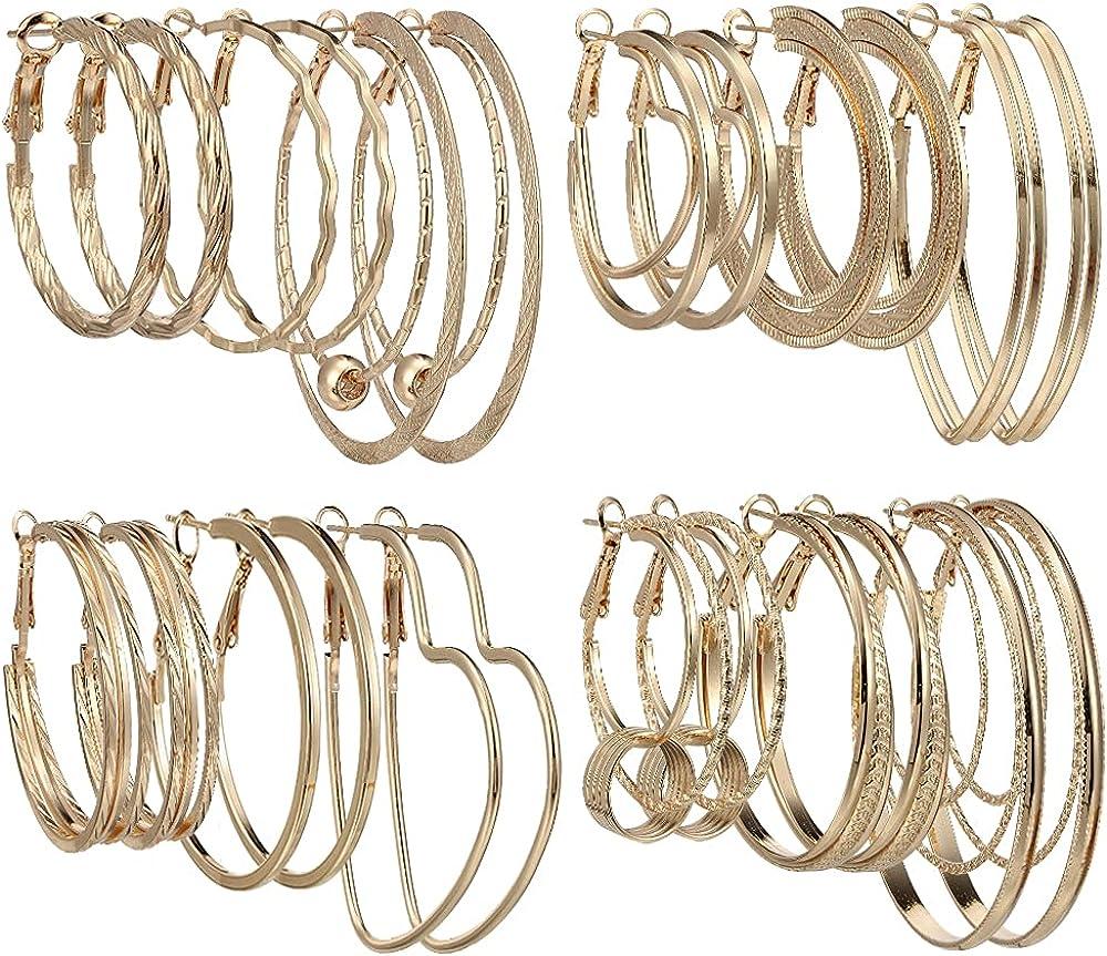 Big Hoop Earrings for Women Girls - Stainless Steel Hoop Earrings Hypoallergenic Geometric Hoops Women's Earrings Loop Earrings Set