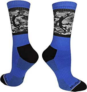 Basketball Socks with Player on Camo Athletic Crew Socks (Multiple Colors)