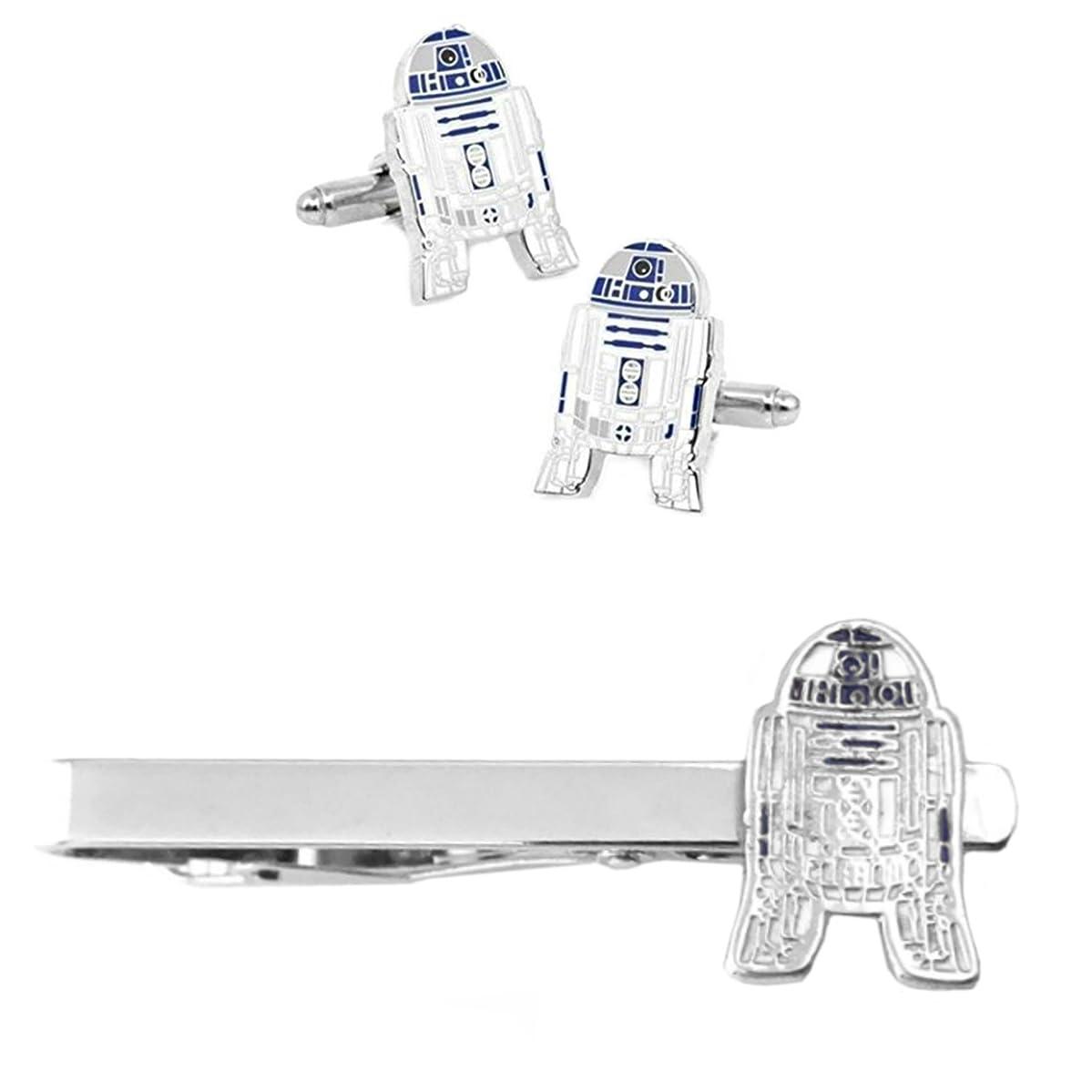 Outlander R2-D2 Cufflink & Tiebar - New 2018 Star Wars Movies - Set of 2 Wedding Logo w/Gift Box