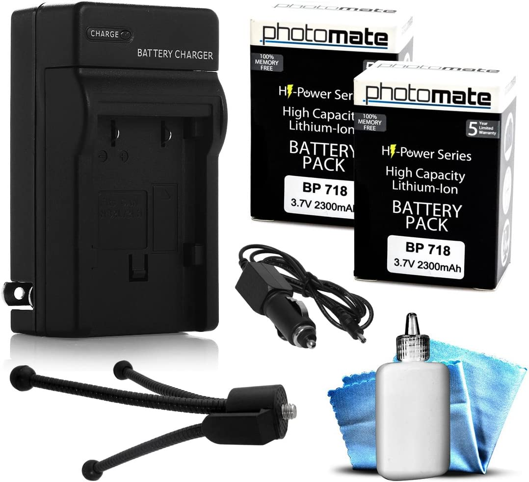 2 Max 42% OFF Pack PhotoMate BP-718 BP718 Ultra Ranking TOP11 High Rechargeable Capacity