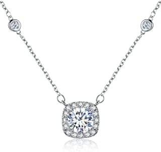 SBLING Platinum Plated AAAA Cubic Zirconia Cushion Shape Halo Pendant Necklace (1.90 cttw)