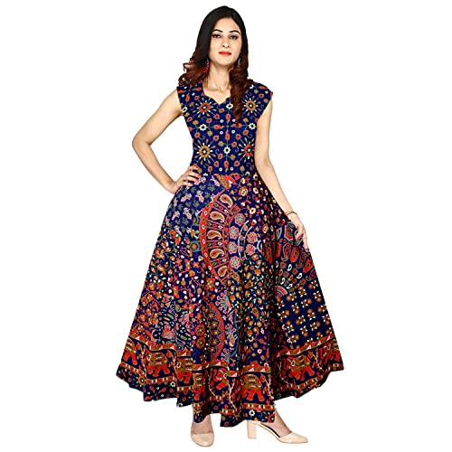 Silver Organisation Women Fit and Flare Cotton Fabric Printed A-Line Maxi  Midi Western Long d501ccabf