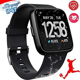 Smart Watch, Waterproof Multisport Fitness Trackers for Women Men, Smartwatches with Heart Rate Blood Pressure Sleep Monitor Pedometer, Wearable Smart Wristband (Black)