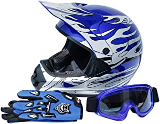 TCT-MT DOT Adult Helmet+Goggles+Gloves Blue Flame Dirt Bike ATV Helmet Motocross Motorcycle Helmet X-Large Off-Road Riding