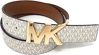 Michael Kors Signature Logo Belt with Reversible MK Logo Plaque, Vanilla/Luagge, Small