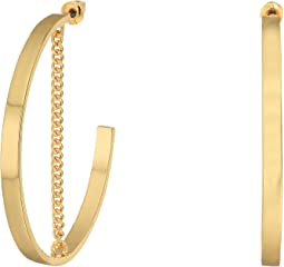 Steve Madden - Large Open Hoop with Chain Post Earrings
