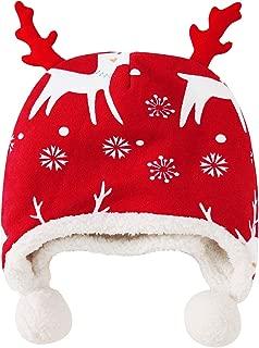 pureborn Baby Boy Girl Christmas Hats Fleece Cartoon Deer Elk Horn Winter Hat Cap