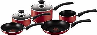 Tefal Bistro Aluminium Cookware Set, 5 Pieces - Red