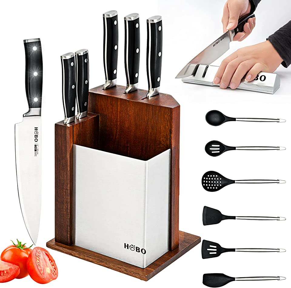 HOBO Kitchen Knife Set - 13 in 1 Knife Block Sets with Knives Stainless Steel Chef Knife Set with Block,Sharpener and Silicone Kitchen Utensil Set
