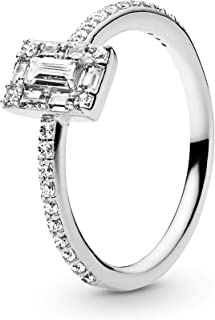 Jewelry - Sparkling Square Halo Ring for Women in Sterling Silver with Clear Cubic Zirconia