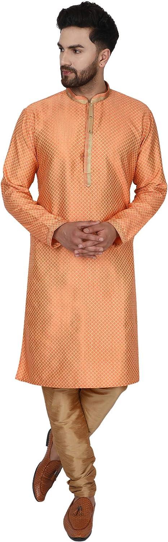 SKAVIJ Men's Tunic Art Silk Kurta Pajama Wedding Party Festive Season Dress Suit Set