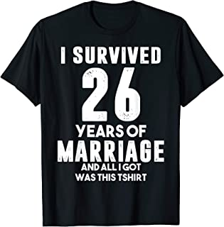 26th Wedding Anniversary Gift For Wife Husband Couples T-Shirt