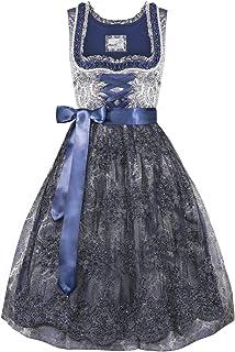 MarJo Trachten Damen Trachten-Mode Midi Dirndl Gadila in Grau traditionell
