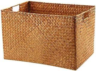 Rectangle de ménage Shopping Hauteur Panier Seagrass Storage Hangper Boîtes de rangement Blanchisserie Hauteur avec poigné...