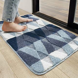"""Indoor Doormat Front Back Door Mat, 20""""x32"""" Water Absorbent Low-Profile Mud Mat Non Slip Large Door Rug for Inside Entrance Machine Washable(Blue Diamond)"""