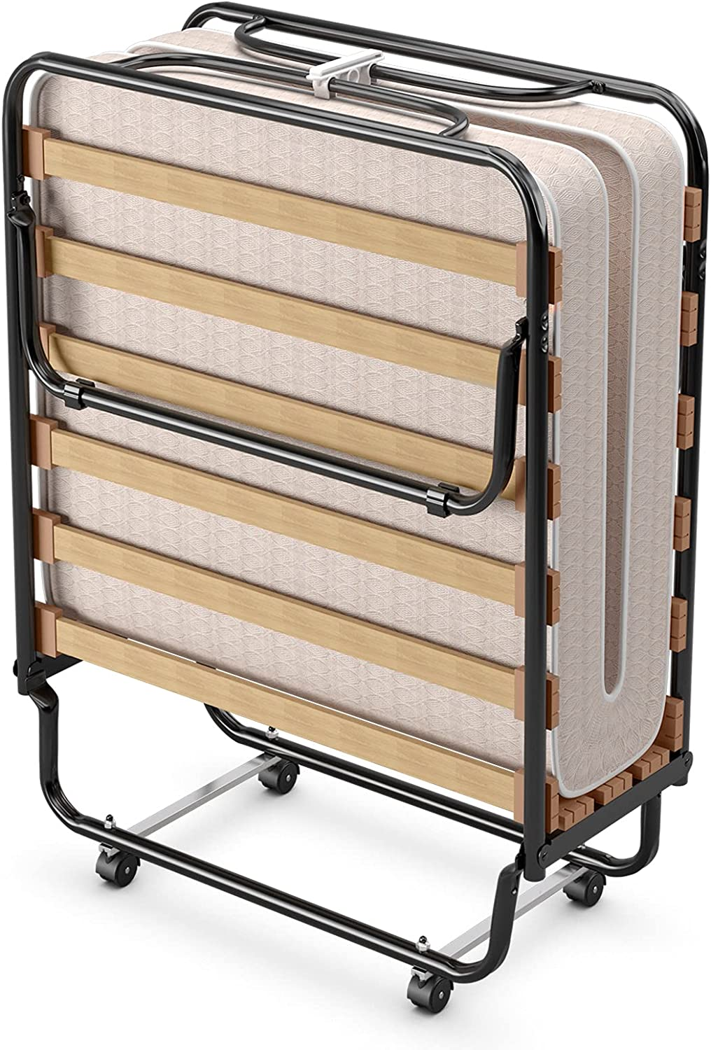 GOFLAME Rollaway Folding Bed with Soft Foam Mattress, Portable Guest Bed Cot Size with Metal Frame for Adults, Sleeper Bed with for Spare Bedroom and Office, Made in Italy (Beige)