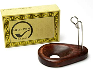 """Tobacco Pipe Stand for 1 Smoking Pipe Handmade by KAFpipeWorkshop Wooden Pipe Rack KAF1""""Drop"""" from ash Tree"""