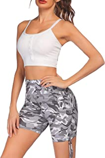 COOrun Women's Workout Set 2 Piece Yoga Outfits Gym Running High Waist Ruched Shorts and Sports Bra Set S-XXL