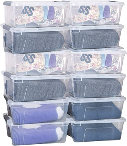 lowest Giantex 12 Pack Storage Box Storage sale Tote Boxes W/Clear Lid 12.7 Quart / 12 Liter Each Liter Latch Stack Tubs Bins w/Clear Lid outlet online sale Latches Handle Latching Boxs online