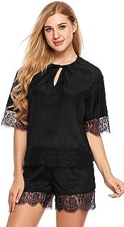 Ekouaer Womens Silk Two Piece Pajama Set Short Sleeve Lace Sleepwear Nightwear Pjs Shorts