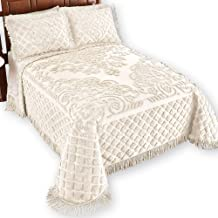 Collections Etc Royalty Elegant Scroll and Checkered Pattern Chenille Bedspread with Fringe Border, Ivory, Twin