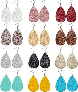 brown leather leaf earrings