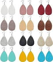 12 Pairs Faux Leather Earrings Teardrop Petal Drop Earrings Long Dangle Earrings Lightweight Leaf Handmade Earrings with Clear Silicone Backings for Women Girls Teens