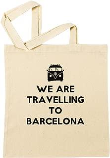 We Are Travelling To Barcelona Bolsa De Compras Playa De Algodón Reutilizable Shopping Bag Beach Reusable