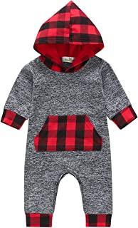 Wiswell Baby Boys Girls Hoodie Romper Plaid Pocket Bodysuit Baby Kids Pajamas Outfit