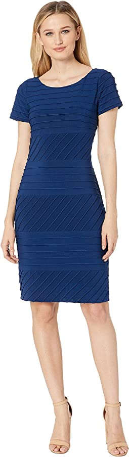 Matte Jersey Pintucked Sheath Dress