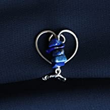 Lapis Lazuli Heart Labien | Intimate Jewelry | Non Piercing Lip Clip | Stainless Steel and Gemstones